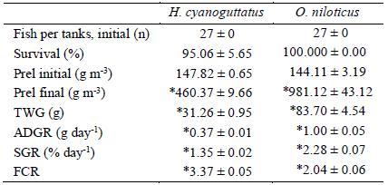 Primer prueba productiva de la mojarra nativa Herichthys