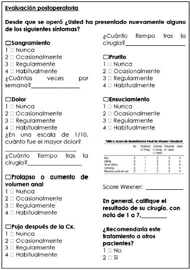 evaluación funcional y encuesta de satisfacción de los pacientes