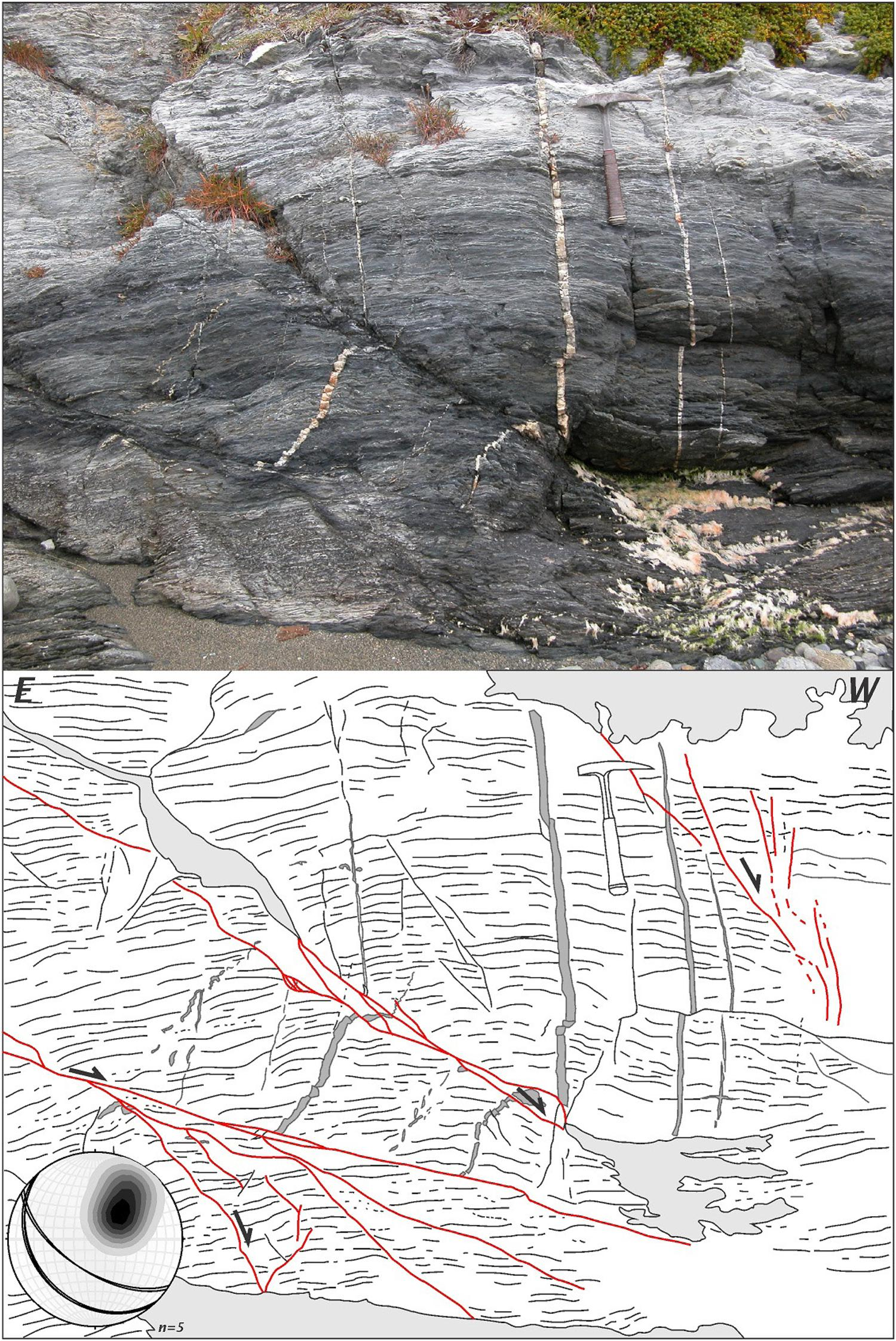 Arquitectura Somera De Lineamientos En Los Andes Fueguinos Basada Tree 325 Proximity Switch Wiring Diagram Fig 5 Phyllites Of Lapataia Formation Cross Cut By A Set Nw Se Striking Normal Faults Moderate Dips Towards The Sw Quartz Veins That