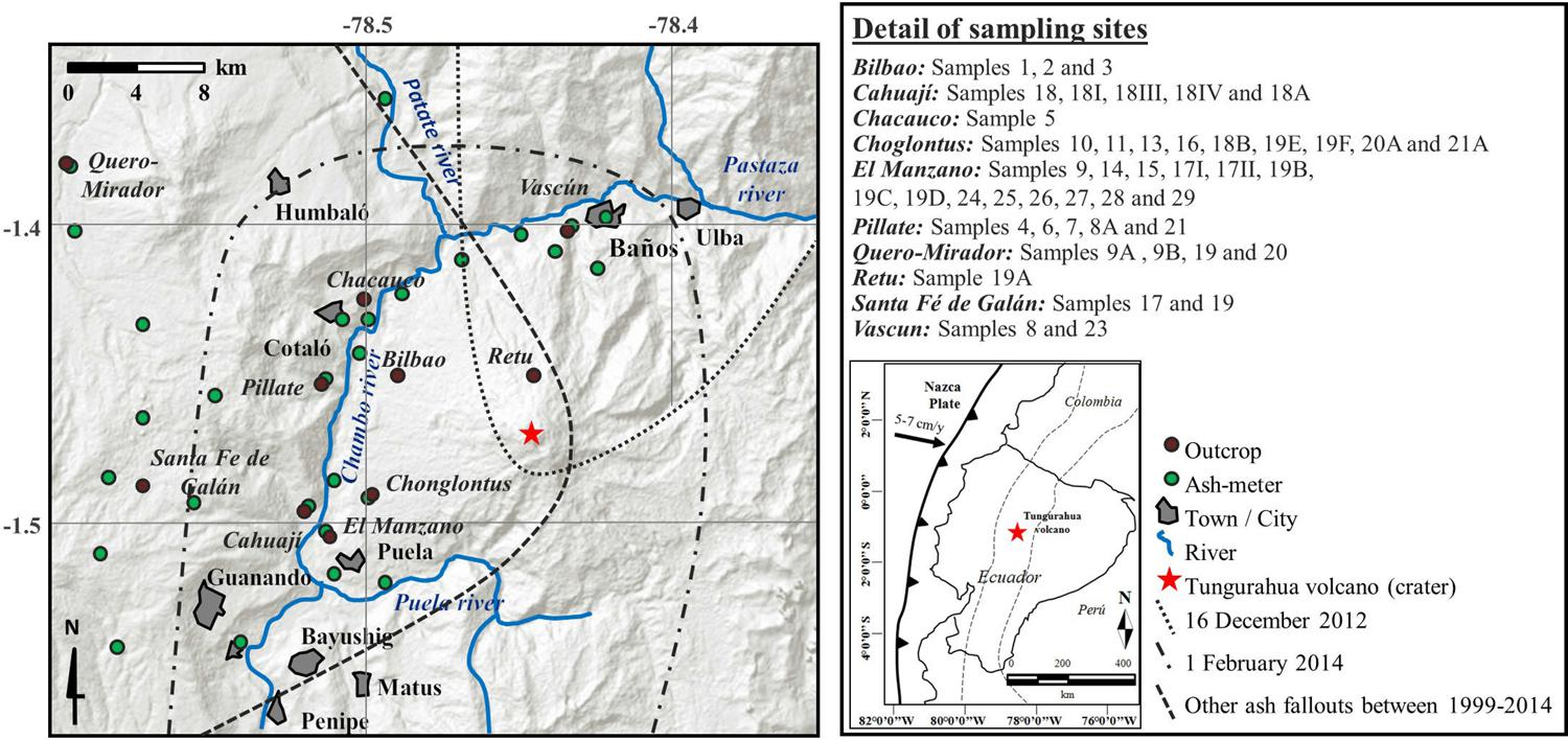 Cada De Tefra Del Ciclo Eruptivo Larga Duracin Volcn Tas Gunung Sunature 65l Fig 1 Location Of Tungurahua Volcano The Sampling Sites In Outcrop Brown Dots And Ash Meters Green Administered By Ig Epn Are