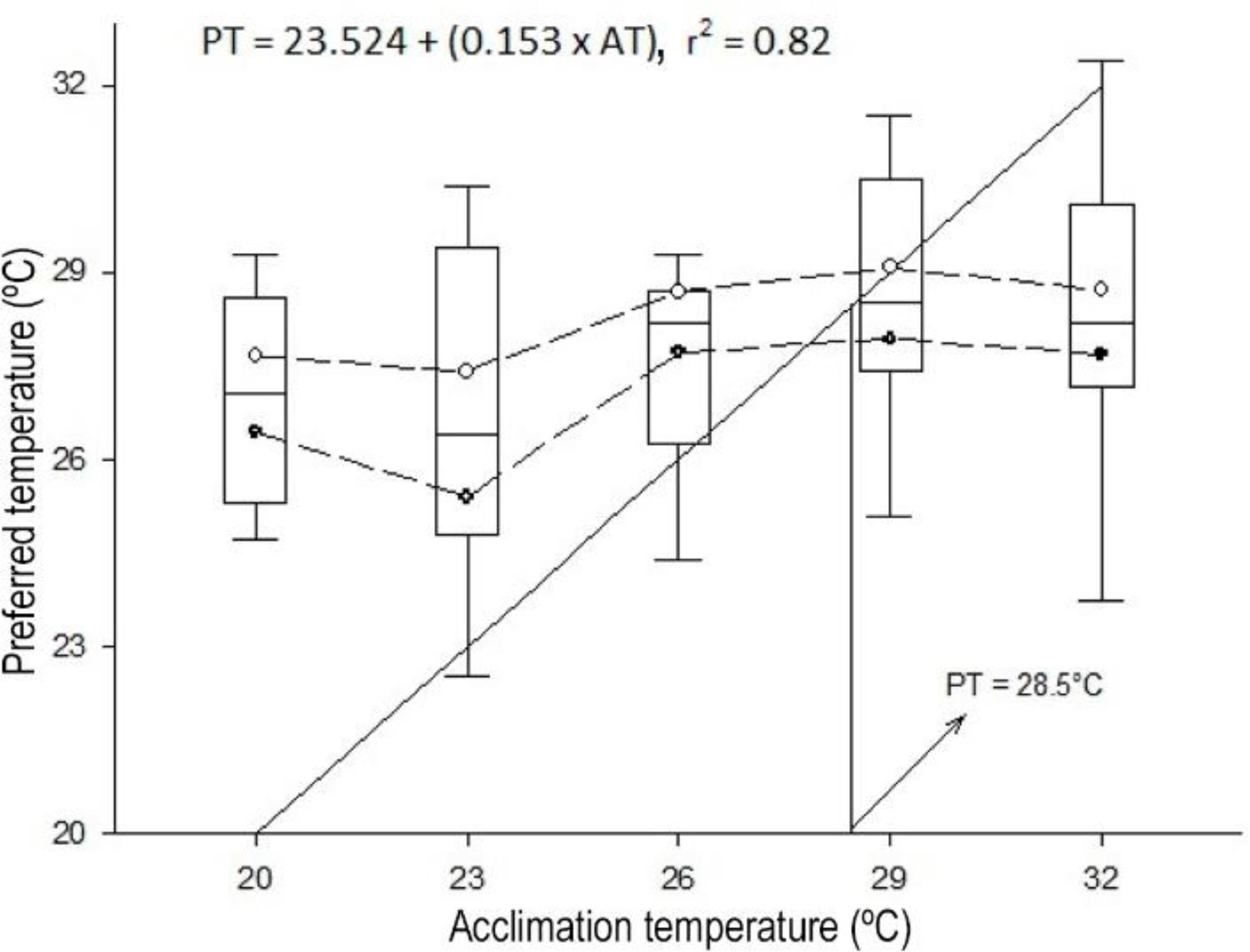 Thermal Preference Critical Limits Oxygen Routine Figure 1 Digital Thermometer Circuit Diagram Preferred Temperature Of Macrobrachium Tenellum Acclimated To Different Temperatures The Zone Bordered By Circles Open And Closed